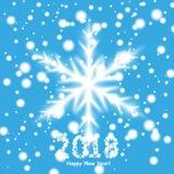 Счастливая предпосылка 2018 Нового Года с снеговиком и снегом, иллюстрацией вектора бесплатная иллюстрация