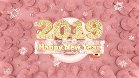 Счастливая предпосылка 2019 Нового Года с украшенными рождественскими елками, падая снежинками и 2019 золотыми числами иллюстрация штока