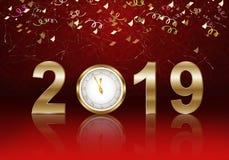 Счастливая предпосылка Нового Года с 2019 иллюстрация штока
