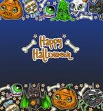 Счастливая предпосылка с тыквами, череп дизайна сообщения хеллоуина, паук, шлам, кот, Стоковые Фотографии RF