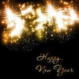 Счастливая предпосылка торжества фейерверков Нового Года Стоковые Изображения RF