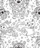 Счастливая предпосылка хеллоуина безшовная с животными мультфильма также вектор иллюстрации притяжки corel иллюстрация вектора