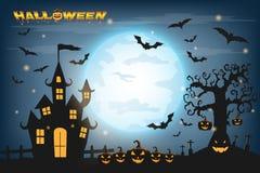 Счастливая предпосылка хеллоуина с тыквой и зомби на полном Стоковая Фотография