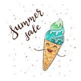 Счастливая продажа лета мороженого и текста Стоковое Изображение RF
