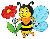 Счастливая пчела держа тему 1 цветка Стоковая Фотография