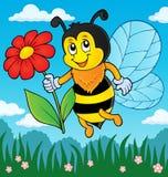 Счастливая пчела держа тему 3 цветка Стоковое Фото