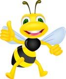 Счастливая пчела с большим пальцем руки вверх Стоковые Изображения