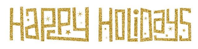 СЧАСТЛИВАЯ рука яркого блеска золота ПРАЗДНИКОВ помечая буквами знамя стоковые фотографии rf