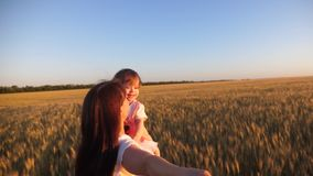 Счастливая семья держа руки бежит в поле пшеницы ( Перемещение матери и дочери смеясь держа руки с сток-видео