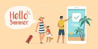 Счастливая семья записывая летние каникулы онлайн иллюстрация вектора