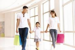 Счастливая семья идя в торговый центр стоковые фотографии rf