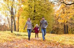 Счастливая семья идя на парк осени стоковые изображения rf