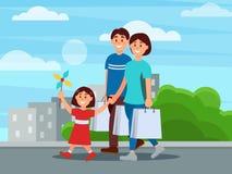 Счастливая семья идя парком после ходить по магазинам Мать, отец и их дочь Здания и зеленые кусты на предпосылке бесплатная иллюстрация