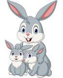 Счастливая семья кроликов иллюстрация вектора