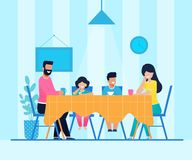 Счастливая семья мультфильма имеет обедающий дома совместно иллюстрация вектора