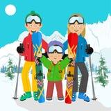 Счастливая семья на празднике лыжи в горах иллюстрация вектора