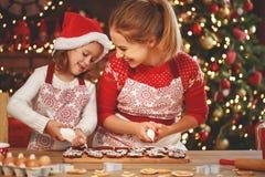 Счастливая семья печет печенья рождества стоковое изображение rf