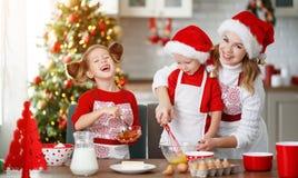 Счастливая семья печет печенья рождества стоковое фото