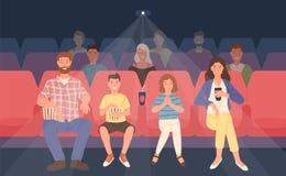 Счастливая семья сидя в кинотеатре или зале кино Мать, отец и их дети смотря фильм или кинофильм иллюстрация штока