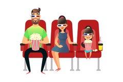 Счастливая семья смотря кино в кино Мама, папа и дочь в стеклах 3d Человек, женщина и девушка сидят на Стоковая Фотография RF