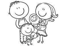 Счастливая семья с 2 детьми, графиками шаржа, планом иллюстрация вектора