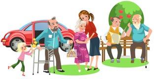 Счастливая семья с любя дедом и бабушкой стоковая фотография rf