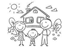 Счастливая семья с одним ребенком около их дома, черно-белого иллюстрация вектора