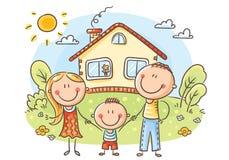 Счастливая семья с одним ребенком около их дома иллюстрация вектора