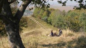 Счастливая семья тратит время на пикнике в луге сток-видео