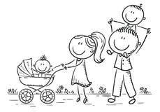 Счастливая семья шаржа при 2 дет идя outdoors, план иллюстрация штока