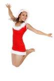 счастливая скача женщина santa стоковые изображения