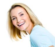 счастливая смеясь над женщина Стоковое Изображение