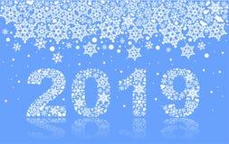 счастливая снежинка номера текста Нового Года 2019 на голубой предпосылке Стоковая Фотография