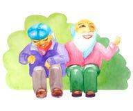 Счастливая старость Старшии пар сидят смеяться и усмехаться в парке около кустов иллюстрация вектора