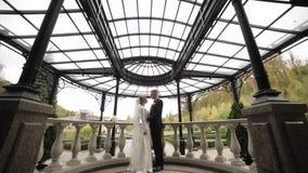 Счастливая стойка пар свадьбы на красивом балконе дворцом сток-видео