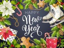 Счастливая тема Нового Года, иллюстрация вектора золота 2018 партии xmas и черное место collors для рождества текста иллюстрация вектора