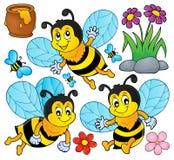 Счастливая тема пчел весны установила 1 Стоковые Изображения RF