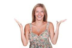 счастливая удивленная женщина Стоковые Изображения RF