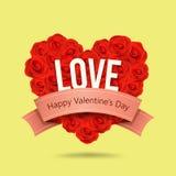 Счастливая форма сердца красной розы дня Валентайн и розовый дизайн ленты бесплатная иллюстрация