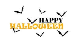 Счастливая чернота хеллоуина и оранжевый текст на белой предпосылке с летучими мышами иллюстрация вектора