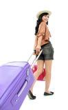 Счастливая девушка идя на каникулу Стоковые Изображения