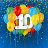 Счастливая 10th карточка дня рождения/годовщины с воздушными шарами Стоковое Изображение RF