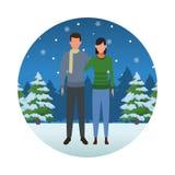 Счастливого рождества в зиме бесплатная иллюстрация