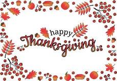счастливое благодарение знамена Рамка сделанная из листьев дуба, рябины и клена, ветвей и ягод рябины, жолудей, яблок тыквы, пиро бесплатная иллюстрация