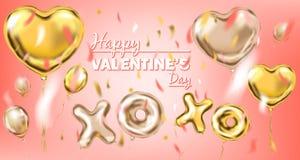 Счастливое Валентайн и розовый воздушный шар формы сердца сусального золота, золотой поцелуй и символ объятия бесплатная иллюстрация