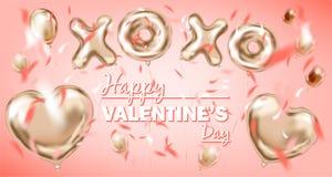 Счастливое Валентайн и розовый воздушный шар формы сердца сусального золота, золотой символ xoxo иллюстрация штока