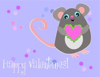 счастливое Валентайн мыши Стоковая Фотография