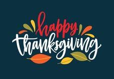 Счастливое желание благодарения написанное с элегантным каллиграфическим сценарием и украшенное упаденной листвой осени покрашено иллюстрация штока