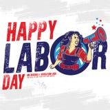 Счастливое знамя Дня Трудаа шаблон ресторана конструкции принципиальной схемы также вектор иллюстрации притяжки corel иллюстрация вектора