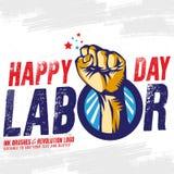 Счастливое знамя Дня Трудаа шаблон ресторана конструкции принципиальной схемы также вектор иллюстрации притяжки corel бесплатная иллюстрация
